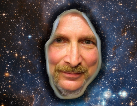 face in space with stars
